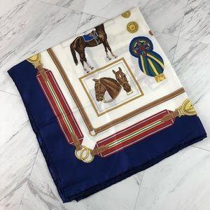 Vintage Longchamp Equestrian Silk Scarf